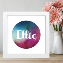 Name Space Print in Box Frame - Stars, Galaxy - Ideal Christening or Baptism Gift for Boys or Girls